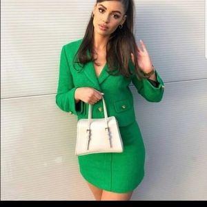 Zara S M Textured Tweed Green Skirt